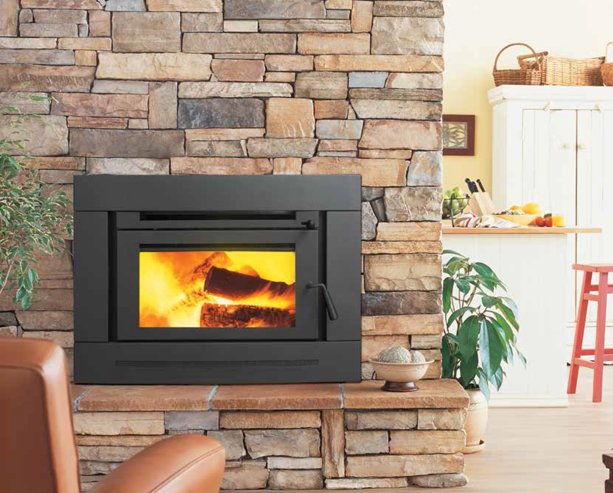 Attractive wood inset fire